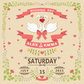 Wedding invitation with swans couple and floral frame Royalty Free Stock Photo