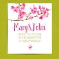 Wedding invitation template with sakura flowers