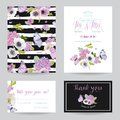 Wedding Invitation Template Set. Botanical Card with Hydrangea Flowers and Butterflies. Greeting Floral Postcard