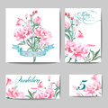 Wedding Invitation with a watercolor peonies. Card Use for Boarding Pass, invitations, thank you card. Vector. Royalty Free Stock Photo
