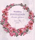 Wedding invitation wreath Vector. Beautiful round floral frame decor. 3d backgrounds Royalty Free Stock Photo