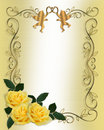 Wedding Invitation Yellow Roses Border Royalty Free Stock Photo