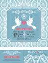 Wedding invitations.Winter paisley pattern,pigeons
