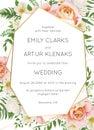 Wedding invite, invitation card floral design. Garden pink peach Royalty Free Stock Photo