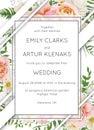 Wedding invite invitation card floral design. Garden pink peach Royalty Free Stock Photo