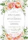 Wedding invite, invitation card floral design. Garden pink peach Royalty Free Stock Photo