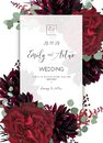Wedding invite, invitation save the date card design. Red marsala rose flower, burgundy dahlia, eucalyptus silver dollar branches
