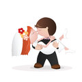 Wedding kiss congratulations card happy couple kissing vector illustration Royalty Free Stock Images
