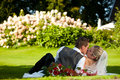 Wedding - kissing couple on meadow Stock Image