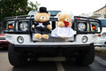 Wedding limousine toys bears as bride groom Royalty Free Stock Photography