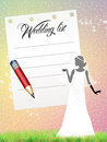 Wedding list illustration of and pencil Stock Photos