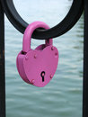 Wedding lock in the shape of pink heart Royalty Free Stock Photo