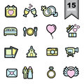 Wedding love Line icons set