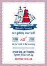 Wedding marine invitation card Royalty Free Stock Photos