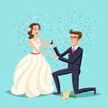 Wedding and marriage couple design. Proposal marriage, vector illustration flat design. Man is holding in hand an open box with a