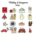 Wedding, marriage, engagement, honeymoon vector icons set