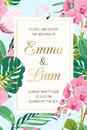Wedding invitation tropical leaves orchid flamingo Royalty Free Stock Photo