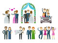 Wedding marriage nuptial vector logo design people set color icons on white background illustration Stock Image