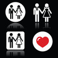 Wedding married couple white icon set on black love newlywed icons Royalty Free Stock Photo