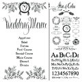 Wedding menu, font set and design elements set Stock Images