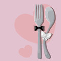 Wedding menu vector pattern with spoon and fork Royalty Free Stock Photography