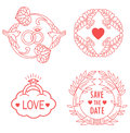 Wedding Monograms. Line Design Elements For Invitation, Decorate, Frames And Borders In Modern Style.