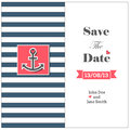 Wedding nautical invitation card with anchor save the date Royalty Free Stock Image