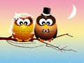Wedding owls on branches abstract illustration Stock Images