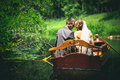 Wedding a pair of lovers in a boat Stock Photo
