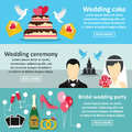 Wedding party banner horizontal set, flat style