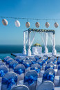 Wedding party in blue and white theme Royalty Free Stock Photos