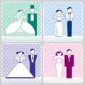 Wedding pastel icons with the bride and groom four versions vector illustration eps Stock Images