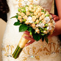 Wedding peach-coloured bouquet Stock Images