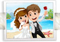 Wedding photo couple with ocean view in the back Royalty Free Stock Photo