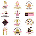 Wedding photo or event agency logo badge camera photographer vintage template vector illustration.