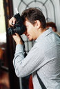 Wedding photographer professional in action Royalty Free Stock Photo