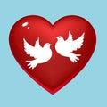 Wedding pigeons in heart