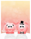 Wedding pigs in love abstract illustration Stock Photos