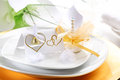 Wedding place setting Royalty Free Stock Photo