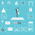 Wedding Planner Icons and Infographics Set Royalty Free Stock Photo