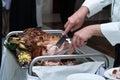 Wedding pork smoked ham from a pig Stock Photos
