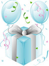 Wedding present and balloons Royalty Free Stock Photo