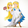 Wedding of prince charming and fairytale princess on white background Stock Photo