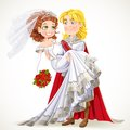 Wedding of prince and fairytale princess charming with red roses Stock Image