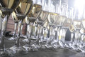 Wedding reception champagne glasses waiting for guests at the event Stock Images