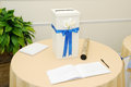 Wedding reception decorated gift table at with signing book Stock Photos