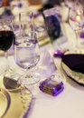 Wedding reception place setting at Royalty Free Stock Images