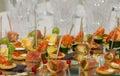 Wedding reception restaurant ready for Stock Image