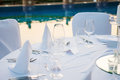 Wedding reception romantic at beach resort Stock Images