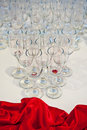 Wedding reception table decoration with glasses Stock Photos